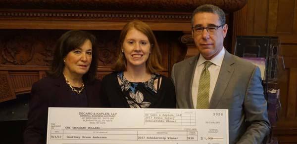 Press Release: De Caro & Kaplen LLP Announce 2017 Traumatic Brain Injury Scholarship Winner